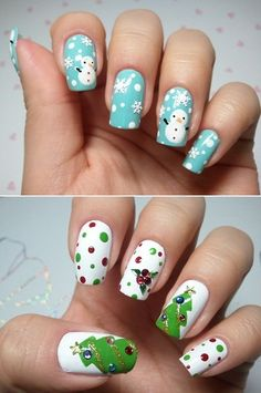 OMG SNOWMEN  My nails are so teeny, but I will still attempt this sometime over the winter.