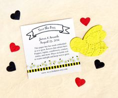 Save the Bees! Each plantable paper bee contains flower seeds that create an attractive habitat for bees. Super sweet for Valentine's Day... Bee Mine.