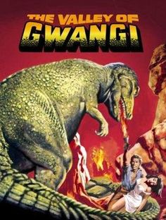 Directed by Jim O'Connolly.  With James Franciscus, Gila Golan, Richard Carlson, Laurence Naismith. Cowboy James Franciscus seeks fame and fortune by capturing a Tyrannosaurus Rex living in the Forbidden Valley and putting it in a Mexican circus. His victim, called the Gwangi, turns out to have an aversion to being shown in public. Another film featuring the stop-action special effects talents of Ray Harryhausen.