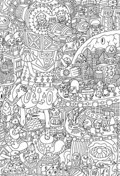 Very challenging coloring page for Adults Free Printable - Enjoy Coloring