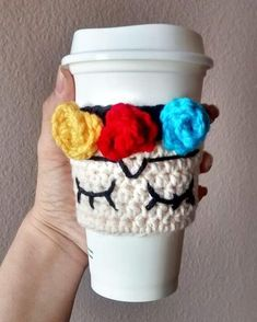 Ravelry: Frida kahlo cup cozy pattern by Yazmina Nieblas Crochet Coffee Cozy, Crochet Cozy, Crochet Stars, Love Crochet, Easy Crochet, Crochet Bookmark Pattern, Crochet Bookmarks, Crotchet Patterns, Mug Cozy