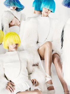 Mugler's fall-winter collection –Twelv Magazine, Jens Langkjaer captures Alys Hale, Gaby Loader and Hannah Cottam. Styled by Sohei Yoshida, hair stylist Teiji Utsumi and makeup artist Nami Yoshida.