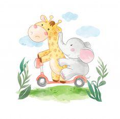 Cute Giraffe, Cute Elephant, Car Themed Parties, Star Illustration, Paint Splash, Paint Background, Cute Animal Drawings, Scrapbook Designs, Baby Art