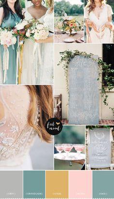 Blush,Grey ,grayed jade ,gold and sage wedding palette   fabmood.co.uk