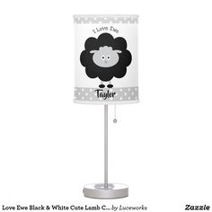 Love Ewe Black & White Cute Lamb Child Custom Name Table Lamp