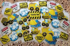 Construction Cookies, Cat Construction, Cakes For Boys, Boy Cakes, Royal Icing Decorated Cookies, Transportation Party, Construction Birthday Parties, Birthday Supplies, Betty Crocker