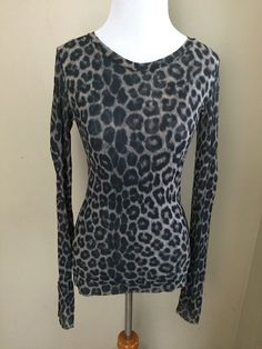SWEET PEA Stacy Frati Sheer Leopard Print Stretch Top Size M Medium Shirt Long #SweetPea #Blouse #Casual