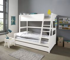 Family Double Bunk Bed, Solid Wood, White by Lifetime Kidsrooms Triple Sleeper Bunk Bed Children Shared Spaces Sleepovers