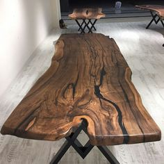 Check out the legs - Wood - Resin Wood Live Edge Furniture, Resin Furniture, Log Furniture, Dining Room Furniture, Custom Furniture, Furniture Removal, Wooden Slab Table, Wood Resin Table, Wooden Dining Tables