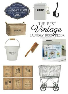 The Best Vintage Laundry Room Decor: Explore this French vintage source list for. The Best Vintage Laundry Room Decor: Explore this French vintage source list for… Farmhouse Laundry Room, Country Farmhouse Decor, French Country Decorating, Country Décor, Bespoke, Cheap Beach Decor, Vintage Bathrooms, Country Bathrooms, Vintage Laundry Rooms