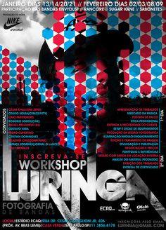 Flyer Workshop fotografie.  Sterk grafisch ontwerp in blauw, rood, wit en zwart. Prachtige vormgeving en typografie. Beeld, kleur, vorm en tekst past als een puzzel in elkaar.