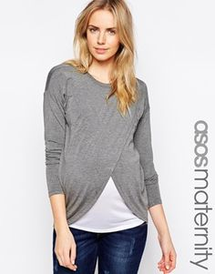 Enlarge ASOS Maternity NURSING Top With Wrap Overlay And Long Sleeve