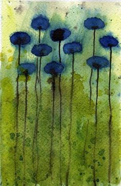 Buy 2 Get 1 FREE -- Watercolor Painting: Watercolor Flowers -- Mini Art Print -- Daydreaming -- Blue Flowers  -- ACEO Print on Etsy, $3.00