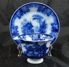 Antique Staffordshire Flow Blue Rhine Pattern Kaolin Ware Handless Cup & Saucer