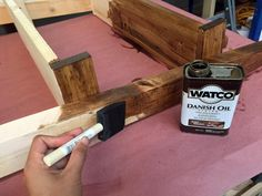 ONE STEP STAIN!!!  Won't crack, peel, chip, no brush marks or top coats!  Danish Oil - Stains, Seals, Protects in One Easy Coat | Ana White