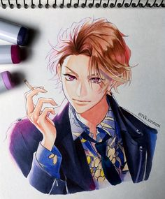Anime Boy Hair, Anime Guys, Animal Sketches, Art Sketches, Copic Drawings, Galaxy Painting, Amazing Drawings, Marker Art, Manga Drawing