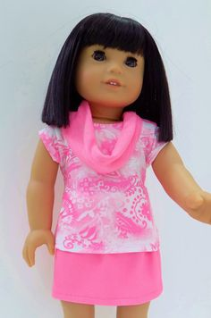American Girl doll clothes, Neon pink Graphic print tee and mini skirt with…