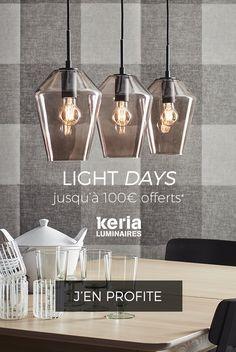 LIGHT DAYS : jusqu'à 100 € offerts, c'est cadeau ! Éclairez-vous à prix doux ! Exclusif, Keria vous offre 2 remises exceptionnelles* : -50 € à partir de 200 € d'achat ou -100 € à partir de 300 € d'achat. Profitez-en dès maintenant dans votre magasin Keria Luminaires ou sur keria.com. Offre valable jusqu'au 12/03/2019.