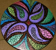 Inspiration: This is a handpainted lazy susan -Would be a lovely mosaic table top piece for the patio or lanai.