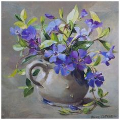 Открытка 0 Обрадовал Открытка с синими цветамии.Anne Cotterill