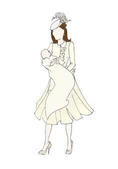 "Duchess of Cambridge Fashion Prince George  Pregnancy Print 8.5""x11"" Alexander McQueen Christening bespoke"