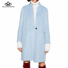 autumn winter new double side wool handmade light blue long jacket coat