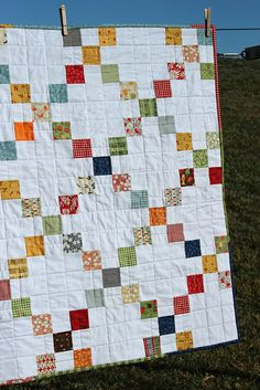 Irish Chain Quilt-love the scrappy feel!