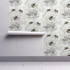 Wallpaper Roll Bumble Bee Floral Flowers Vintage Scientific Illu 24in x 27ft  | eBay