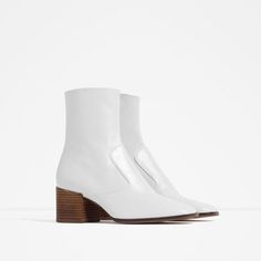 Image 2 of BLOCK HEEL LEATHER ANKLE BOOTS from Zara