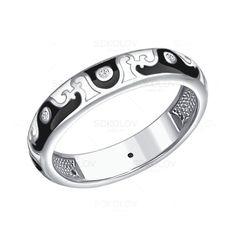 Кольцо из серебра с эмалью c фианитами
