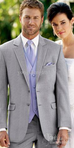 Wholesale Groom Tuxedos Best man Suit Wedding Groomsman Custom Made Suit Light Gray Wedding Suit Y969, Free shipping, $115.36-160.16/Piece | DHgate