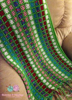 Boxy Neon Afghan - A Scrap  Yarn Project