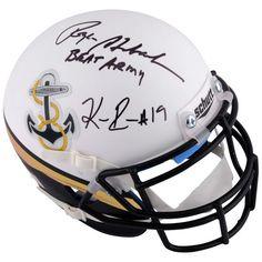 Keenan Reynolds, Roger Staubach Navy Midshipmen Fanatics Authentic Autographed Riddell Blue & White Mini Helmet with BEAT ARMY Inscription - $349.99