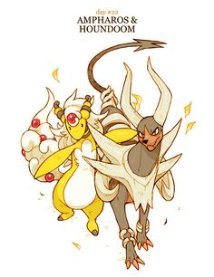 Mega Ampharos and Mega Houndoom