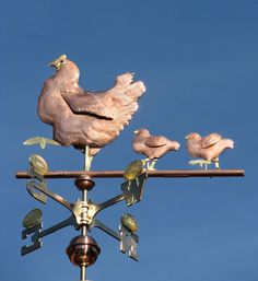 The Chicken, Hen & Chicks Weather Vane can be customized upon ordering. This farm inspired piece is handmade of copper and brass with optional gold leafing.