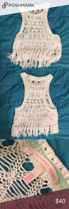 """White Crochet Tank Top - Victoria's Secret White crochet tank top from Victoria's Secret. Perfect over a bathing suit or just as a tank top. Tag says size XS, but fits a S. Worn once, excellent condition. Bundle 2 or more things for 10% off, and feel free to make an offer! If you want to know my measurements, check my """"Meet Your Posher"""" listing at the bottom of my closet! If you have any other questions, feel free to ask!❤ Victoria's Secret Tops Crop Tops"""