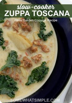 Slow-Cooker Zuppa Toscana Olive Garden Copycat Recipe - Somewhat Simple