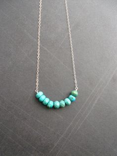 Turquoise Rondelle Necklace  Simple Silver di MordakkDesigns, $37.00