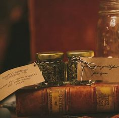 Wedding favor idea: herbal tea leaves in little jars, with brewing instructions on tag.