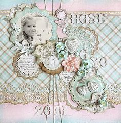 Pretty scrapbook page with layers of flowers #scrapbooking #scrapbook page