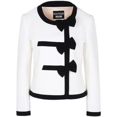 Boutique Moschino Blazer (18.730 RUB) ❤ liked on Polyvore featuring outerwear, jackets, blazers, coats, white, white blazer, long sleeve jacket, cotton jacket, white cotton jacket and cotton blazer
