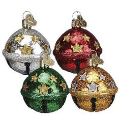 Jingle Bell Glass Christmas Ornament 38022, Red, Green, Gold, Silver from Merck Family's Old World Christmas. Priced Individually - Choose Color Jingle bells are approximately