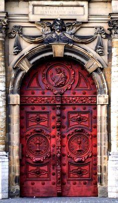 Beautiful red door architecture in Brussels, Belgium. - by Mat Johansson
