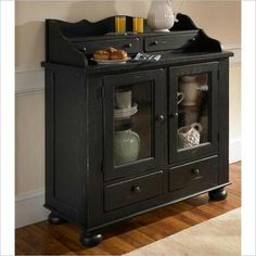 Broyhill Attic Heirlooms Dining Cabinet Oak China Cabinets In Antique Black