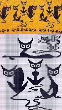 """вязать жаккард по схеме """"кошки"""", узоры,орнаменты, шаблоны для вязания спицами:"""
