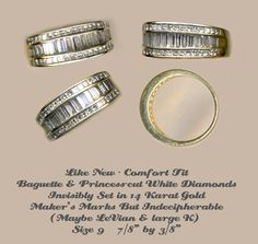 Ring Snag Proof 14 KT Band of Bezel Set White Diamond Baguettes not Eternity ~ R C Larner Buttons at eBay & Etsy        http://stores.ebay.com/RC-LARNER-BUTTONS
