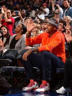 Celeb Sneaker Game  Carmelo Anthony Wearing Air Jordan 10 Knicks PE  Sneakers. 8337ec5dab