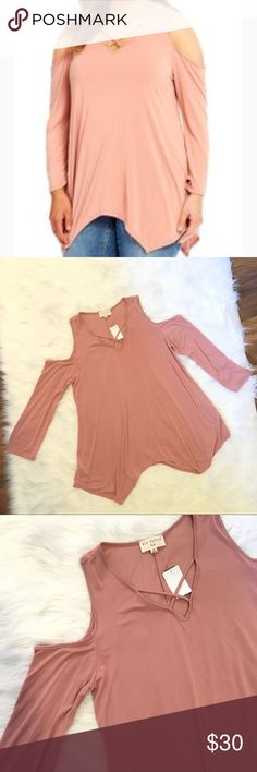 NWT Blu Pepper cold shoulder dusty rose blouse 1XL NWT PLUS Blu Pepper dusty rose cold shoulder blouse top. Size 1XL. 3/4 sleeve, trapeze hem, cross strap neckline. 65% modal 35% polyester. Soft, great office attire or casual attire for weekend brunch and errands. Smoke free home. Fast shipping. #nwt #cold #shoulder #blouse #top #trapeze #cross #casual #career ❌no trades❌ Blu Pepper Tops Blouses