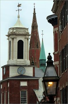 Explore Beacon Hill      The Charles Street Meeting House(left) and the spires of the Church of the Advent rise above the Beacon Hill Skyline. The Advent's spire is 172 feet high