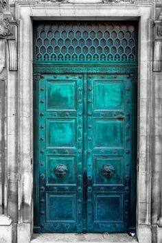Paris, France. Love the color of this gorgeous metal door! Turquise doorway, details, ornaments, beauty, architechture, entrance, come in, beautiful, photo